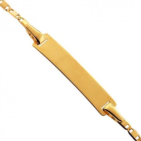 "Solid 14K Yellow Gold Mariner Link Baby Kids ID Bracelet 5.75"""