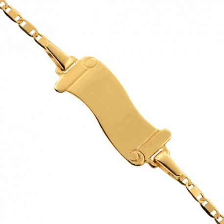 Solid 14K Yellow Gold Name ID Roll Link Kids Bracelet 5.75""