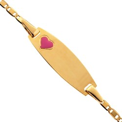 Solid 14K Yellow Gold Heart Enamel Baby Kids ID Bracelet 5.75""
