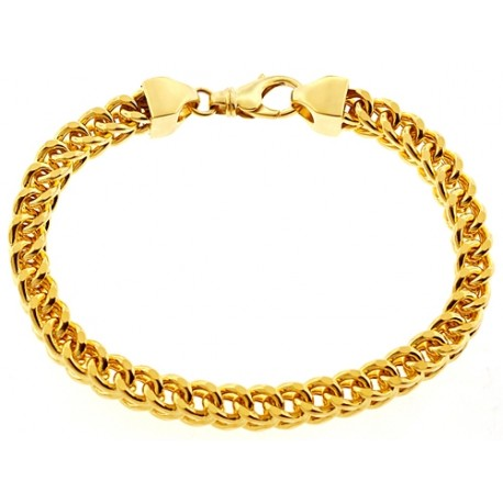 Solid 14K Yellow Gold Franco Link Mens Bracelet 7 mm 9 Inches