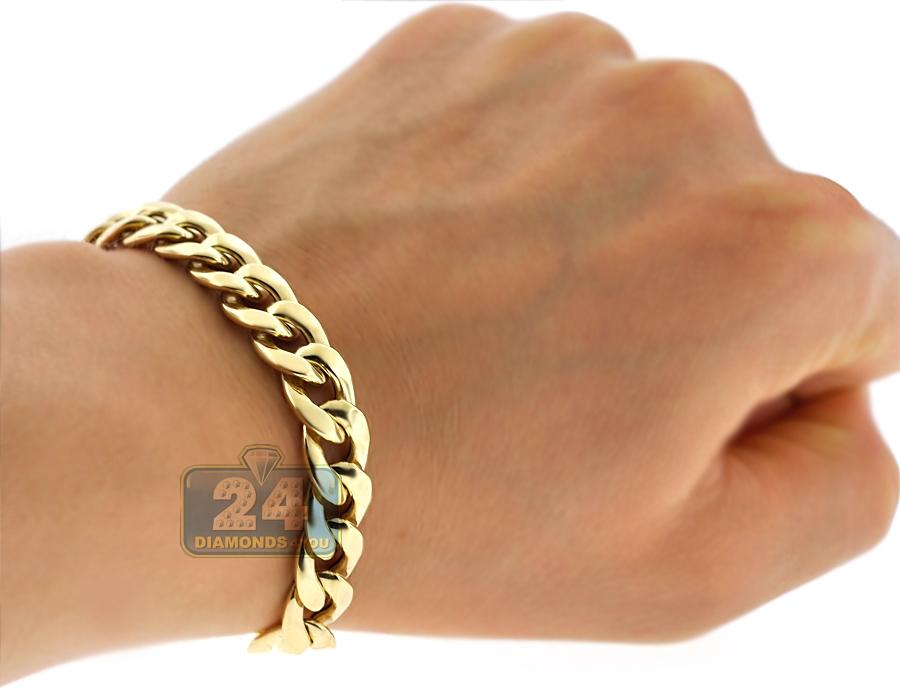 2869c1069061d 10K Yellow Gold Puff Miami Cuban Mens Bracelet 10 mm 8.75 Inches