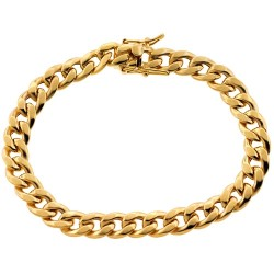 10K Yellow Gold Hollow Miami Cuban Mens Bracelet 8 mm 8.25 Inch