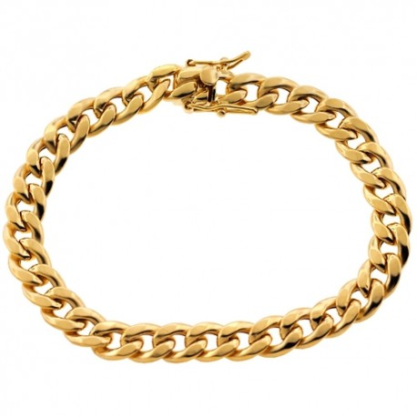 10K Yellow Gold Hollow Miami Cuban Link Mens Bracelet 8mm 8.25""