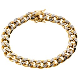 10K Yellow Gold Miami Cuban Diamond Cut Mens Bracelet 10mm 8.5""
