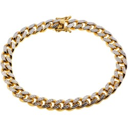 10K Yellow Gold Miami Cuban Diamond Cut Mens Bracelet 8mm 9""