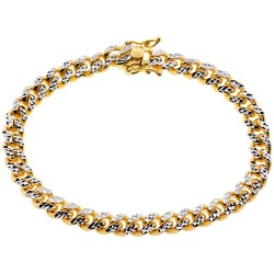 10K Yellow Gold Miami Cuban Diamond Cut Mens Bracelet 7 mm
