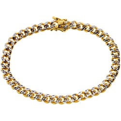 10K Yellow Gold Miami Cuban Diamond Cut Mens Bracelet 6.5 mm