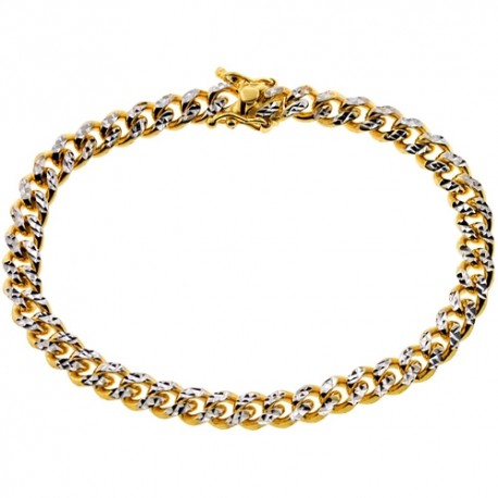 "10K Yellow Gold Miami Cuban Diamond Cut Mens Bracelet 6.5mm 8.5"""