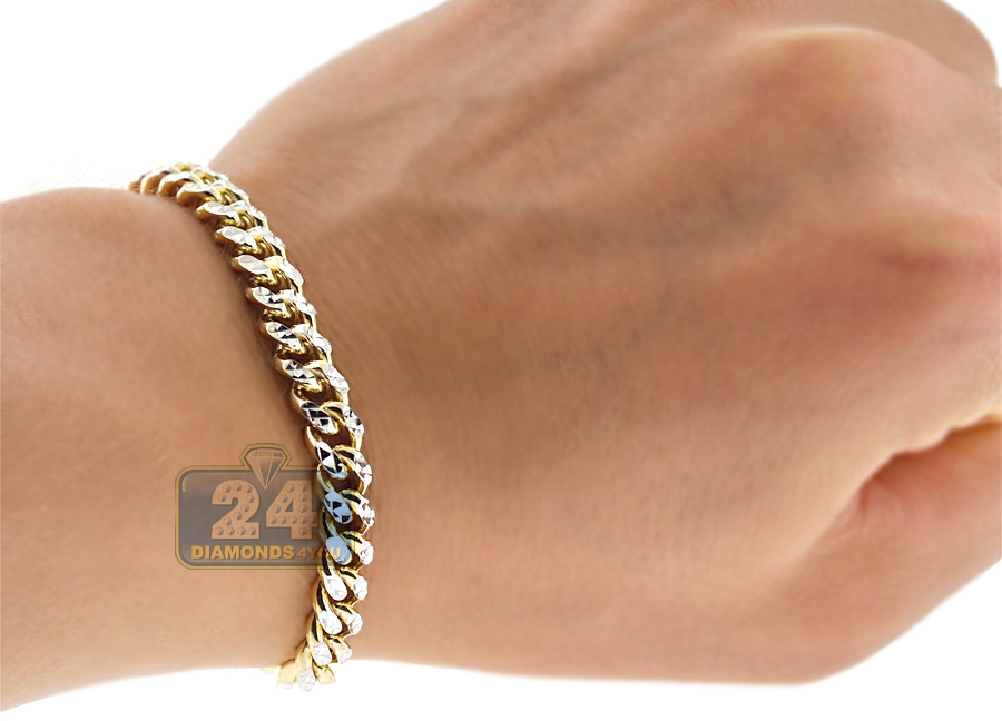10k Yellow Gold Miami Cuban Diamond Cut Mens Bracelet 6