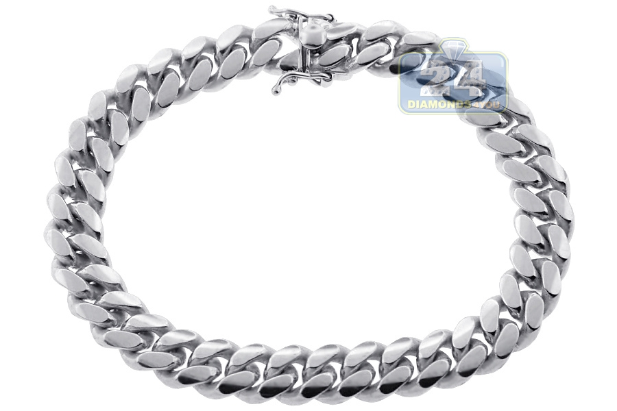 10k White Gold Miami Cuban Link Mens Bracelet 10 Mm 9 Inches
