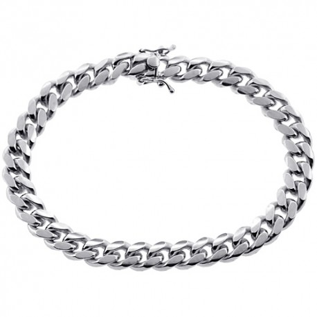 Mens Miami Cuban Link Bracelet Solid 10K White Gold 9mm 9""