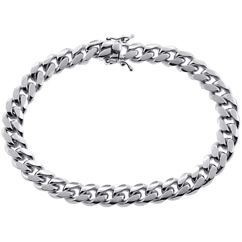 mens miami cuban link bracelet solid 10k white gold 9mm 9. Black Bedroom Furniture Sets. Home Design Ideas