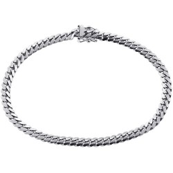 10K White Gold Solid Miami Cuban Link Mens Bracelet 5mm 8.5""