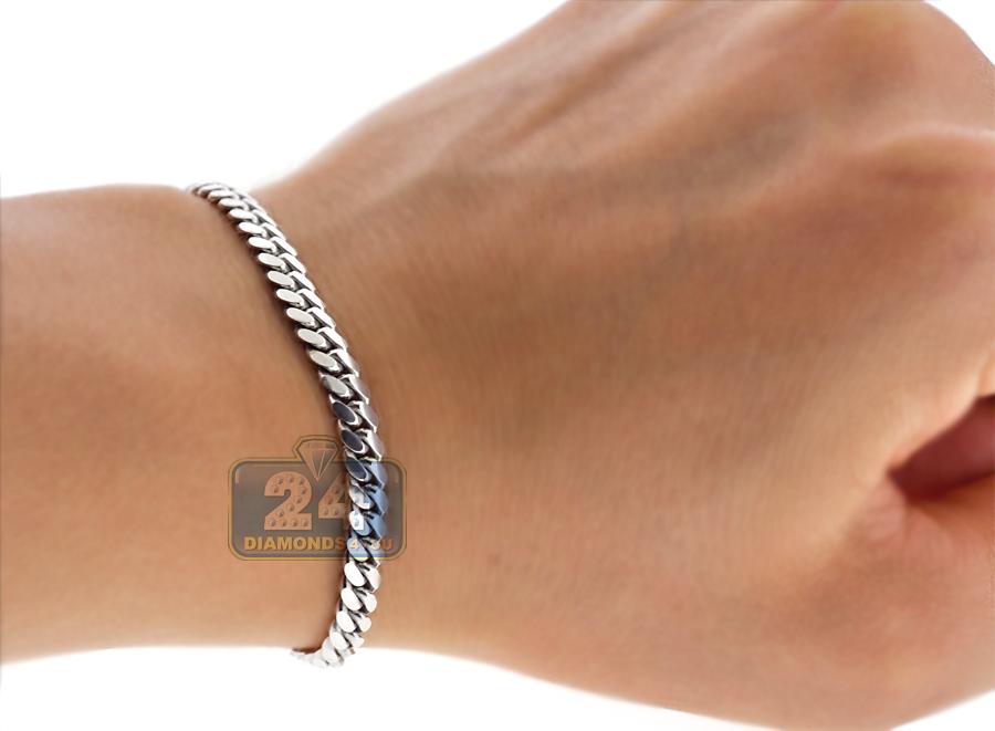 10k White Gold Solid Miami Cuban Link Mens Bracelet 5mm 8 5 Quot