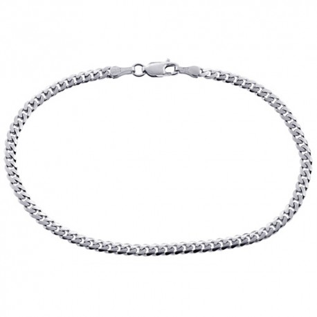 Solid 10K White Gold Miami Cuban Link Mens Bracelet 3.5mm 8""
