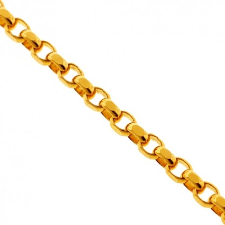 Real 14K Yellow Gold Solid Round Cable Link Mens Chain 3.4mm