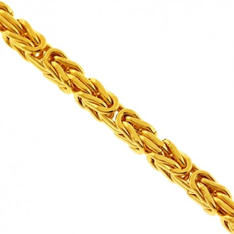Italian 10K Yellow Gold Byzantine Link Mens Chain 3.5 mm