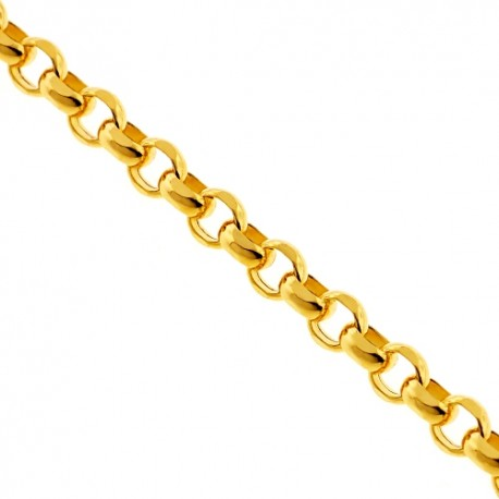 Italian 14K Yellow Gold Round Cable Puff Link Mens Chain 4 mm