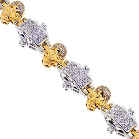 Mens Diamond Skull Link Bracelet 14K Two Tone Gold 2.06 ct 8.75""
