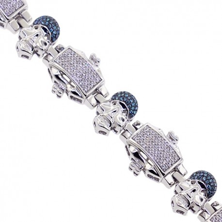 Mens Blue Diamond Skull Bracelet 14K White Gold 2.10 ct 8.75""