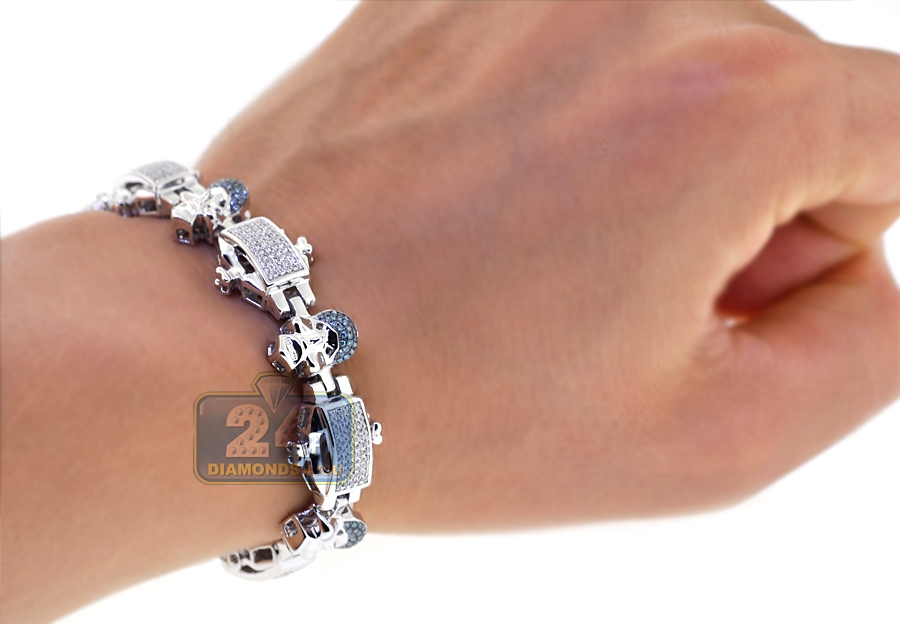 b8f6fc7f6e1 Mens Blue Diamond Skull Bracelet 14K White Gold 2.10 ct 8.75