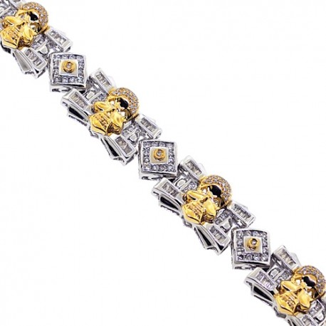 Mens Diamond Skull Link Bracelet 14K White Gold 4.03 ct 8.5""