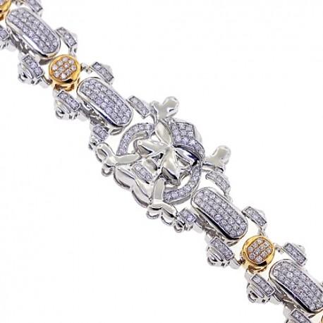 Mens Diamond Skull Bracelet 14K Two Tone Gold 5.12 ct 8.5 Inches