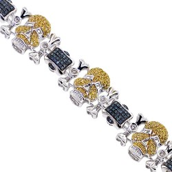14K White Gold 3.01 ct Yellow Blue Diamond Mens Skull Bracelet