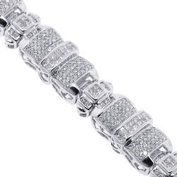 14K White Gold 8.75 ct Diamond Puff Link Mens Bracelet 8.25 Inch