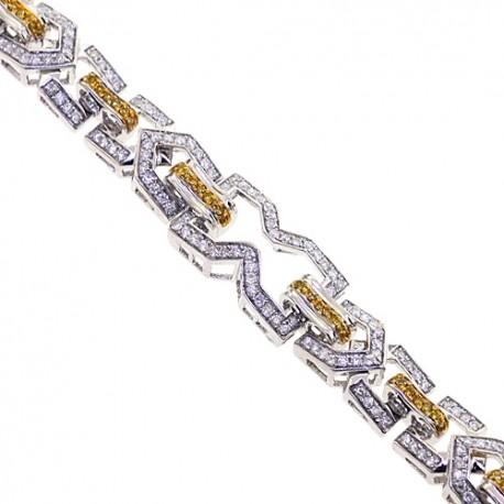 "Mens Canary Diamond Link Bracelet 14K White Gold 3.55 ct 8.5"""