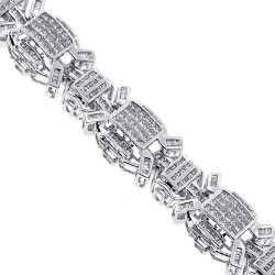 14K White Gold 3.44 ct Diamond Link Mens Bracelet 8.5 Inches
