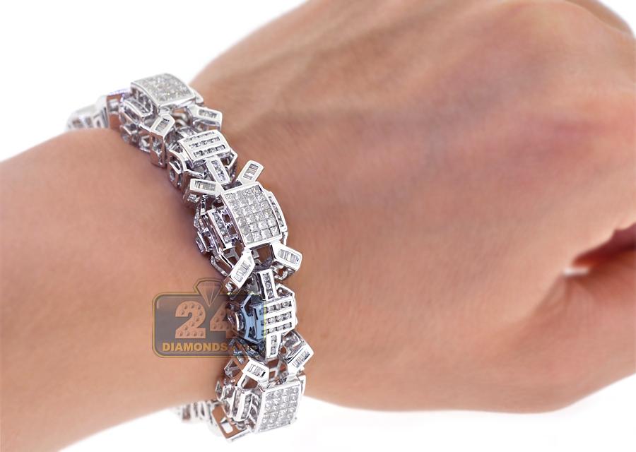 mens diamond link bracelet 14k white gold ct 16mm 8 5. Black Bedroom Furniture Sets. Home Design Ideas
