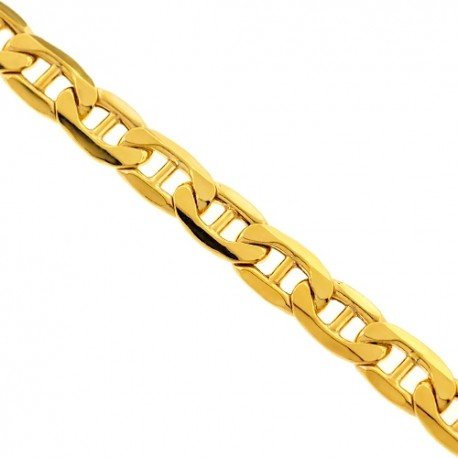 Italian 10K Yellow Gold Mariner Hollow Link Mens Chain 5 mm