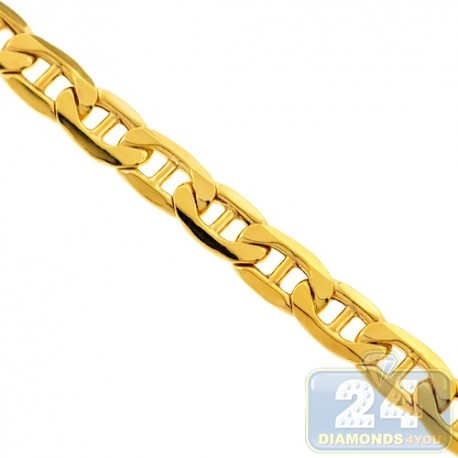 Italian 10K Yellow Gold Hollow Mariner Link Mens Chain 7 mm