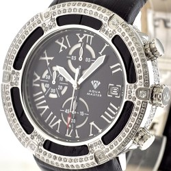 Aqua Master El Russo 5.35 ct Diamond Black Leather Watch