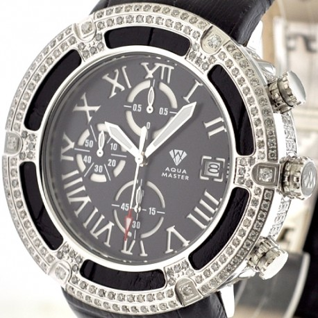 Mens Diamond Watch Aqua Master El Russo 5.35 ct Black Dial