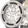 Mens Diamond Silver Watch Aqua Master El Russo 5.35 ct Leather