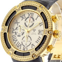 Mens Diamond Yellow Gold Watch Aqua Master El Russo 5.35 ct