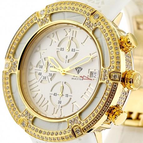 Mens Diamond Gold Watch Aqua Master El Russo 5.35 ct White Dial