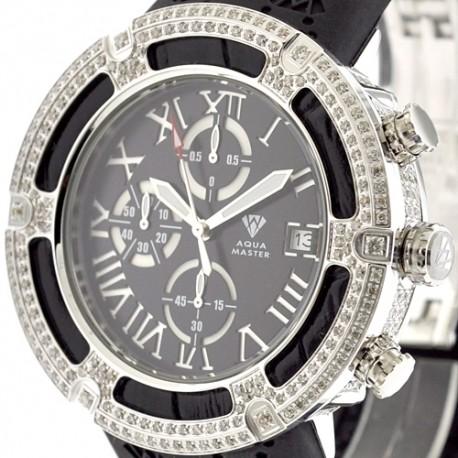 Mens Diamond Rubber Watch Aqua Master El Russo 5.35 Carat