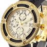 Mens Diamond Gold Watch Aqua Master El Russo 5.35 ct Rubber Band
