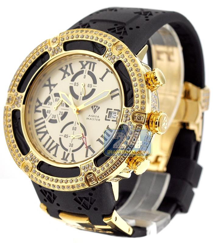 Mens Diamond Gold Watch Aqua Master El Russo 5 35 Ct