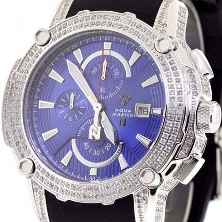 Mens Diamond Blue Dial Watch Aqua Master Nicky Jam 5.00 ct