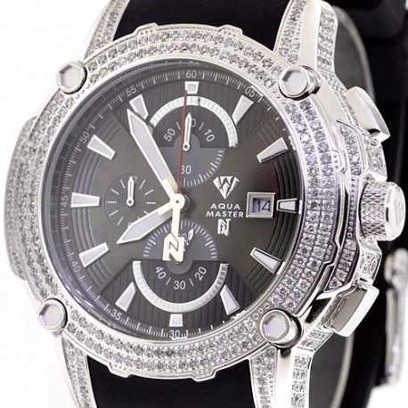 Mens Diamond Black Dial Watch Aqua Master Nicky Jam 5.00 ct