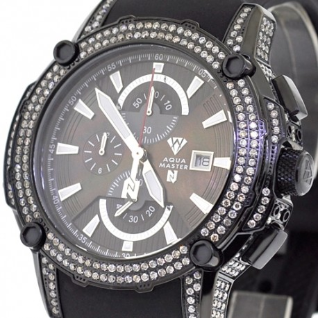 Mens Diamond Black Watch Aqua Master Nicky Jam 5.00 Carat