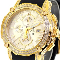 Mens Diamond Yellow Gold Watch Aqua Master Nicky Jam 5.00 ct