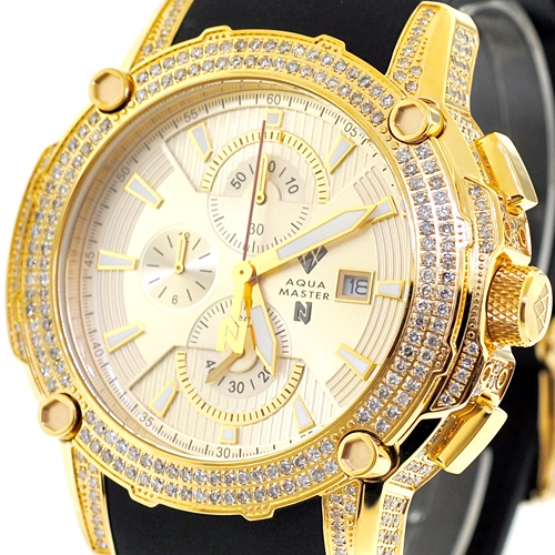 Mens Diamond Yellow Gold Watch Aqua Master Nicky Jam 5 00 Ct