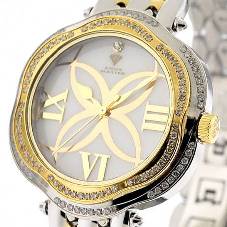 Aqua Master Flower 0.85 ct Diamond Womens Two Tone Watch
