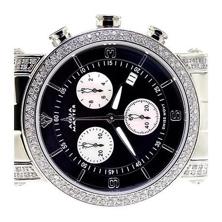 Womens Diamond Watch Aqua Master Round 1.75 ct Black Dial