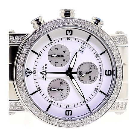 Womens Diamond Watch Aqua Master Round 1.75 ct White Dial
